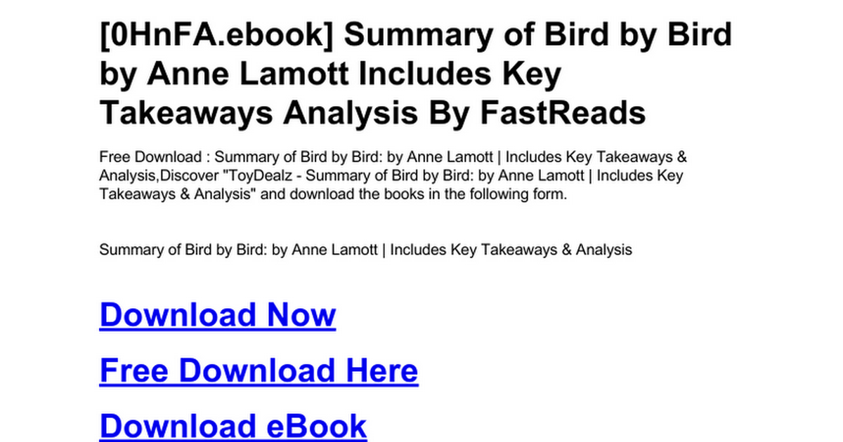 Summary of bird by bird by anne lamott includes key takeaways summary of bird by bird by anne lamott includes key takeaways analysisc google drive fandeluxe Image collections