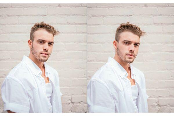 Montagem de fotos de um homem loiro sendo editada pelo AirBrush