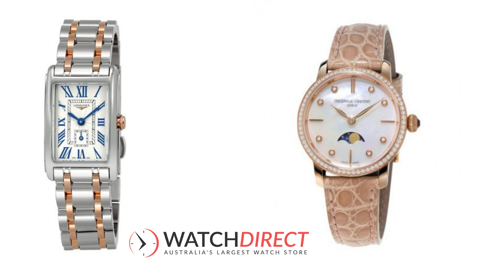 Frederique Constant Slimline Moonphase Beige Alligator Leather Women's Watch and Longines Dolcevita Silver Dial Women's Watch.
