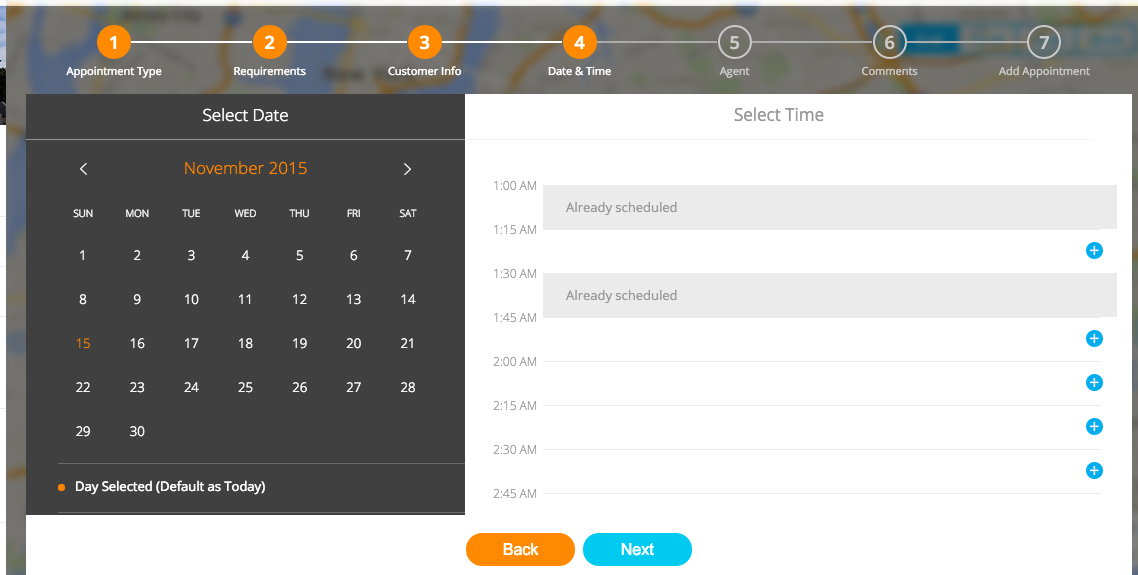 appointment booking ui api code challenge