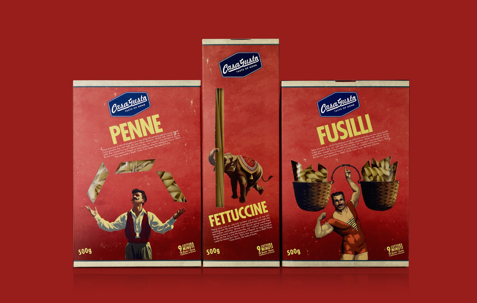 The Casa Gusto brand design and food packaging is centred around the story of their father who followed the circus around Italy