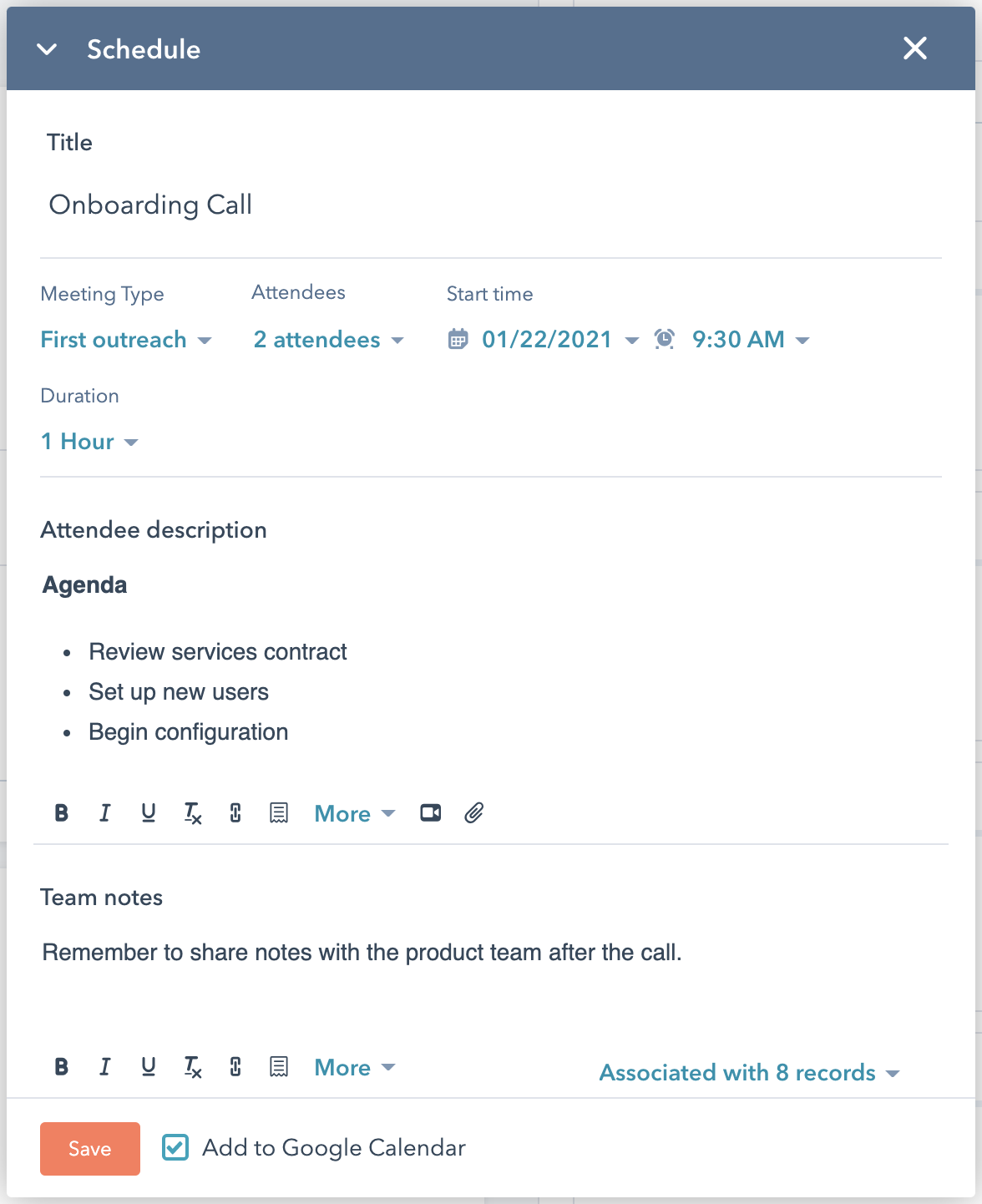 Screenshot of internal-only notes log within HubSpot