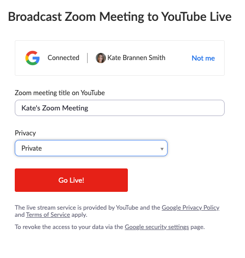 Streaming Zoom meeting to YouTube