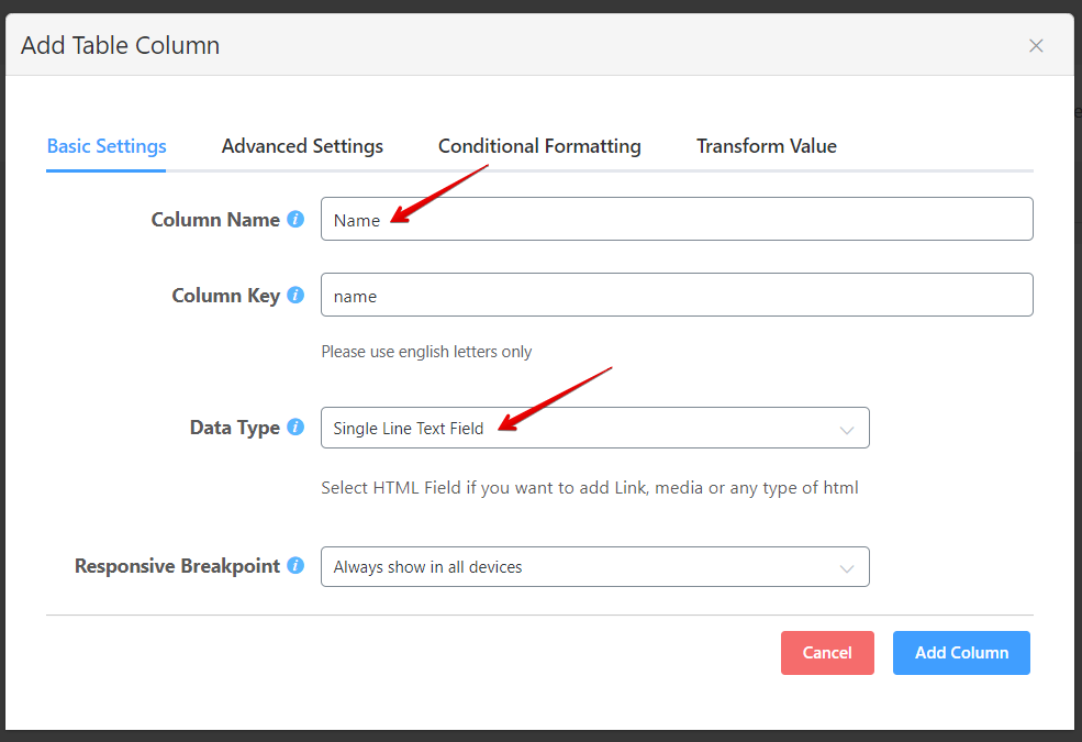 configure the data type in WordPress tables