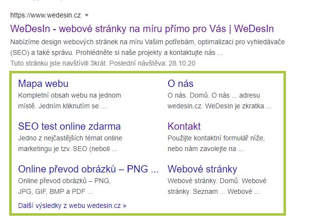 Ukázka odkazů na podstránky ve vyhledávání Google
