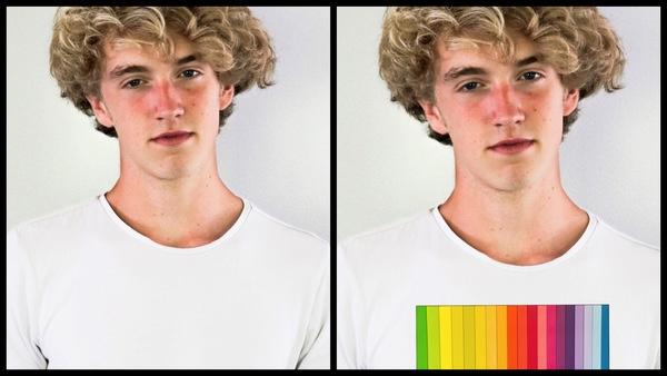 antes e depois da foto de um homem loiro sendo que uma das fotos a camiseta está estampada