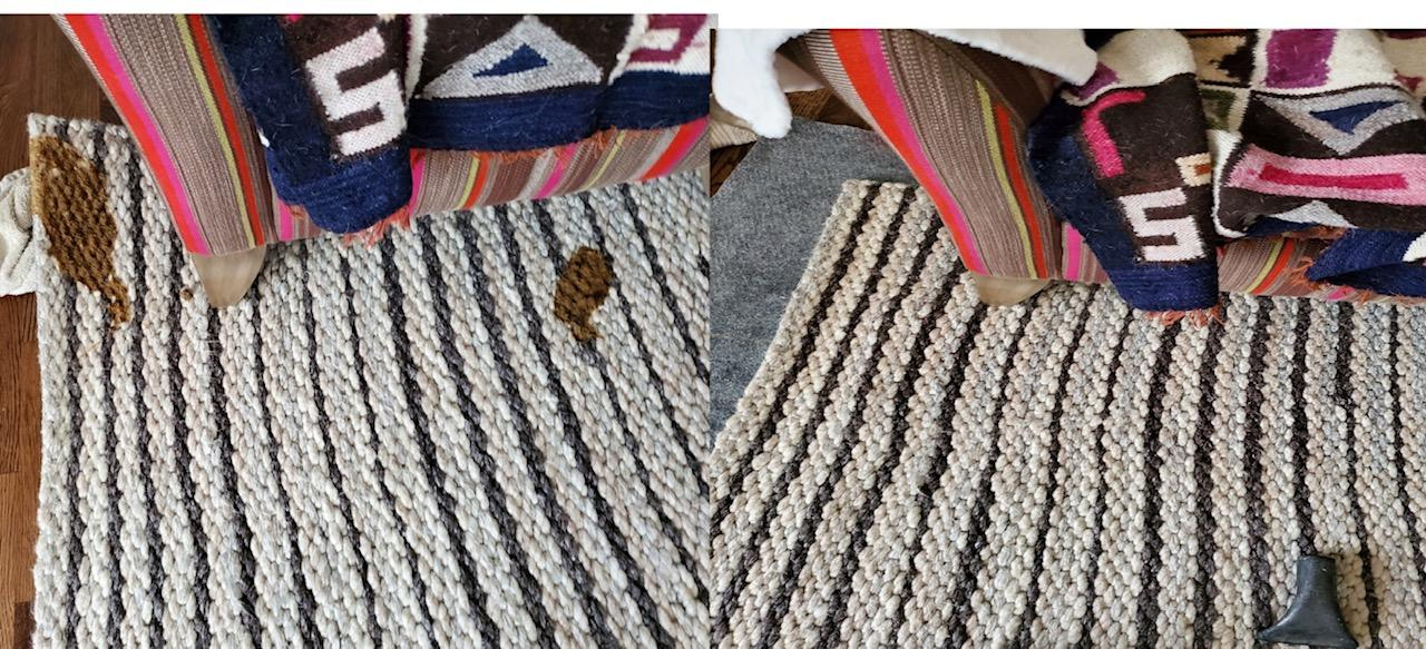 Striped area rug, before and after, Hammond Knoll, cat poop