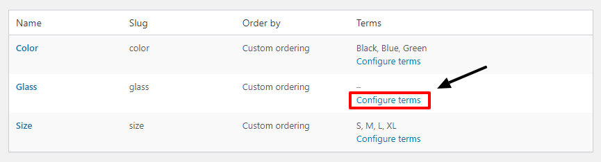 configure terms