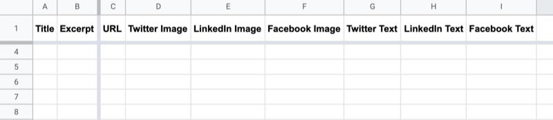 ejemplo de hoja de Google con encabezados etiquetados como título, extracto, url, imagen de Twitter, imagen de LinkedIn, imagen de Facebook, texto de Twitter, texto de LinkedIn y texto de Facebook