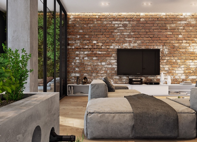 Bức tường gạch kích thước 10x60 tạo không gian độc đáo