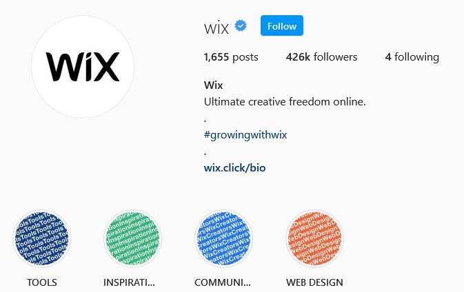 instagram brands Wix