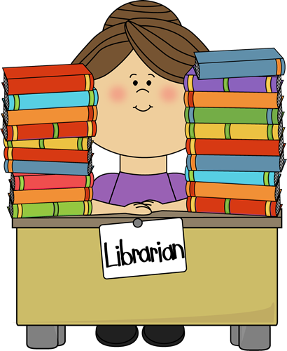 <b>Clip</b> <b>Art</b> Image - librarian sitting at a desk with stacks of <b>library</b> ...