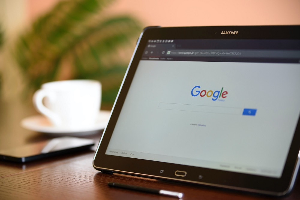 Google search page on tablet screen