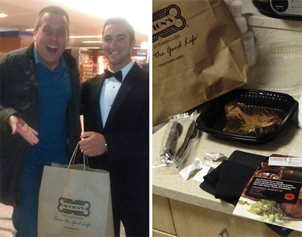 Morton's employee in a tux delivering a steak to a twitter user.