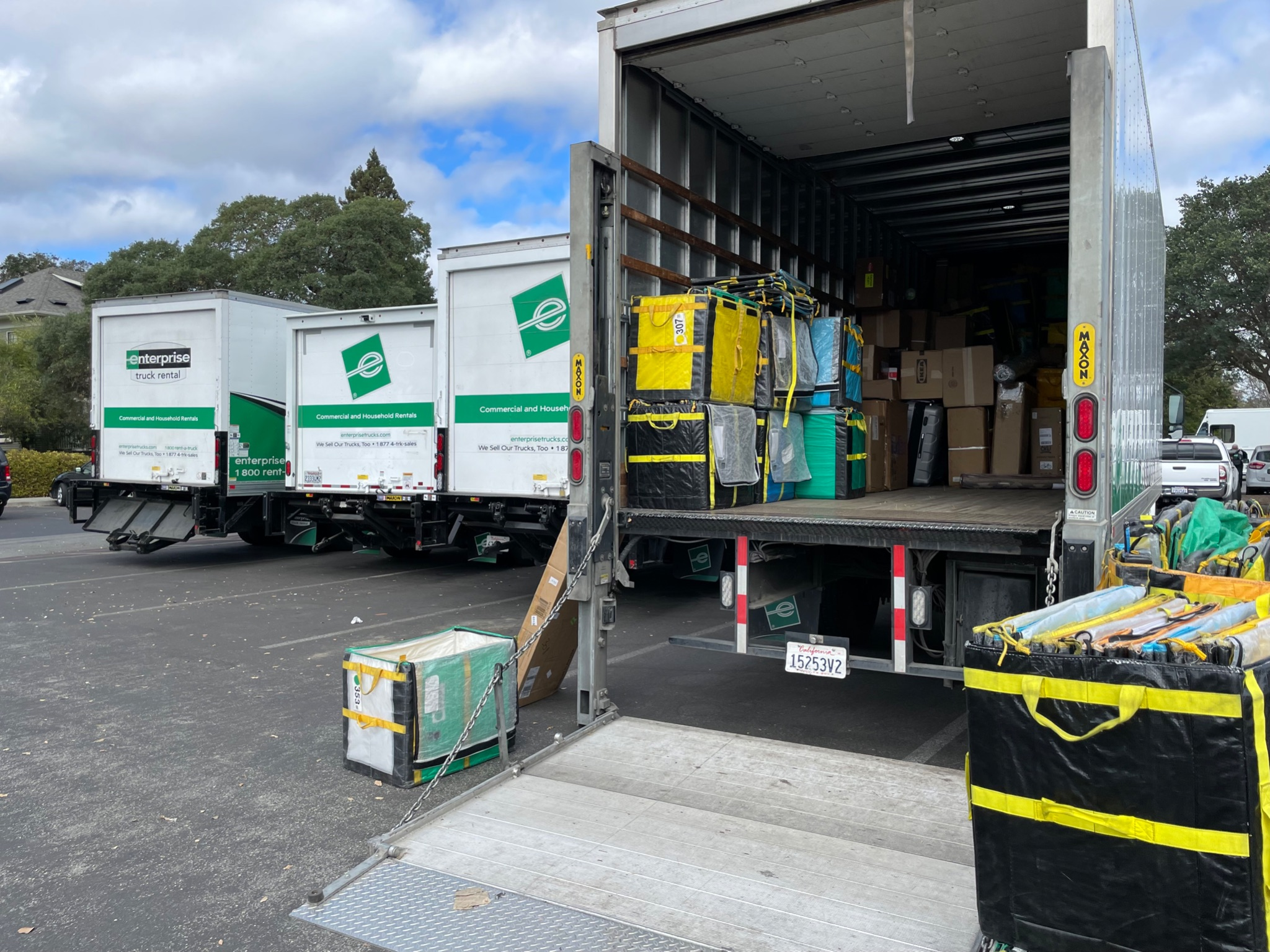 Open enterprise truck with packages stored inside