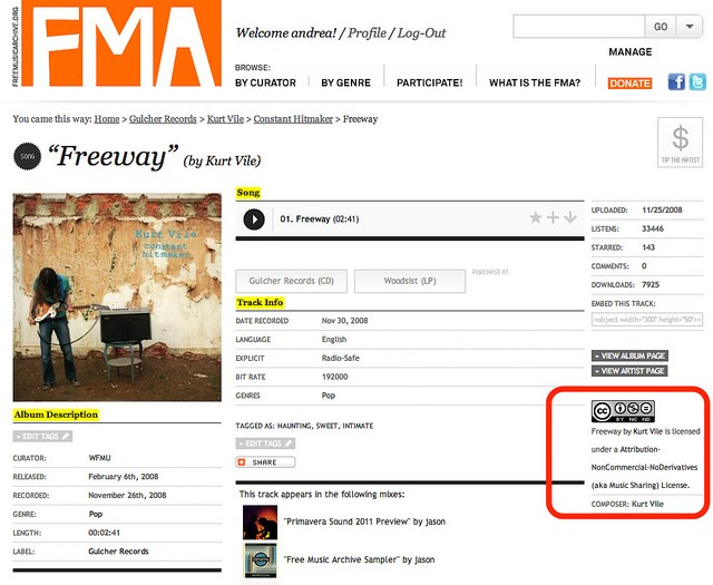 FMA License Info on Track pages