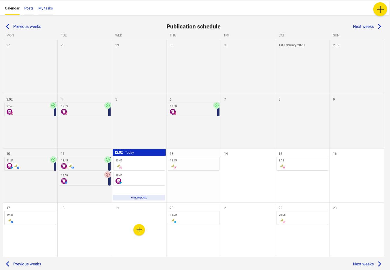 Kalendarz publikacji w Publikatorze od NapoleonCat