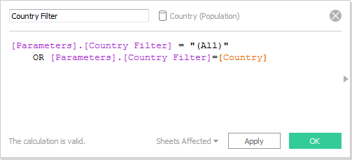 Tableau Country Filter calculation