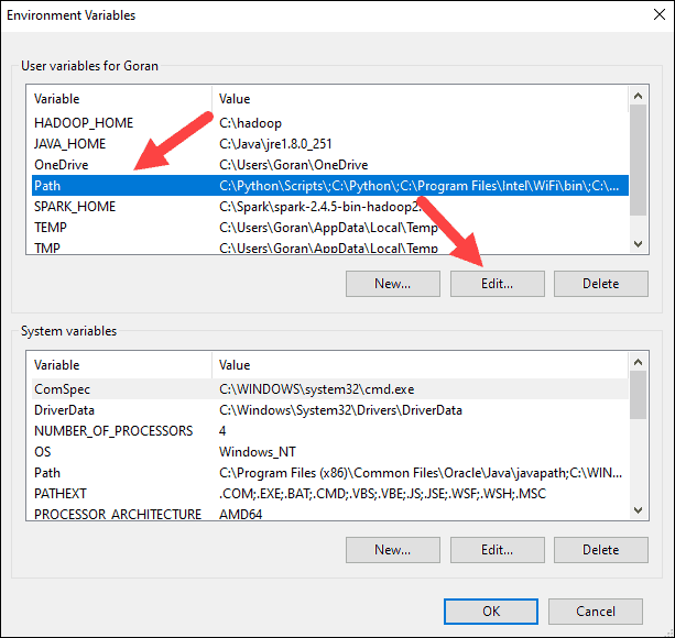 Edit the path variable to add Spark home.