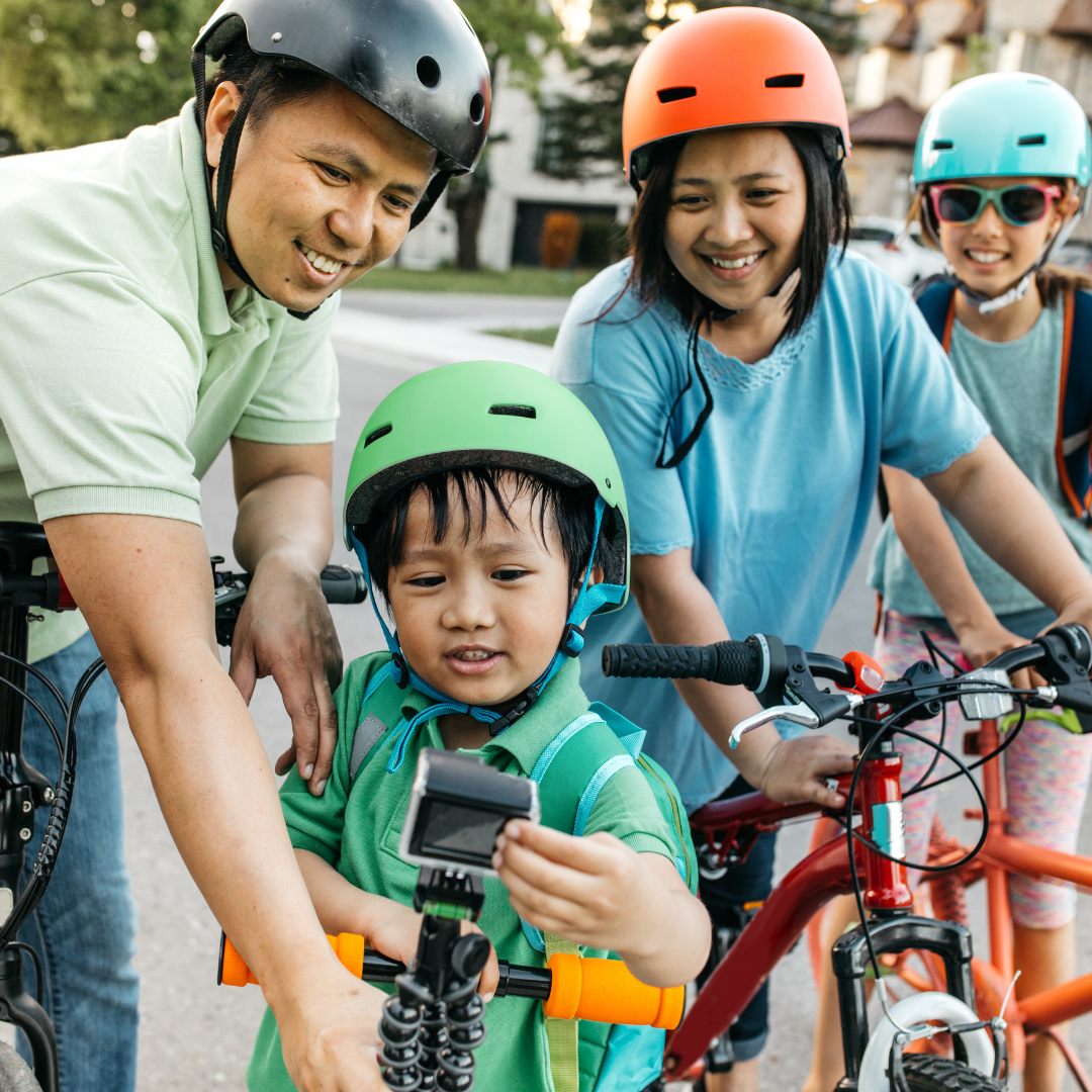 active family bike ride with parents and kids