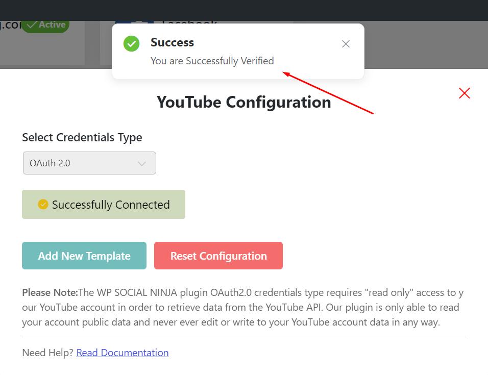 YouTube feed successful configuration