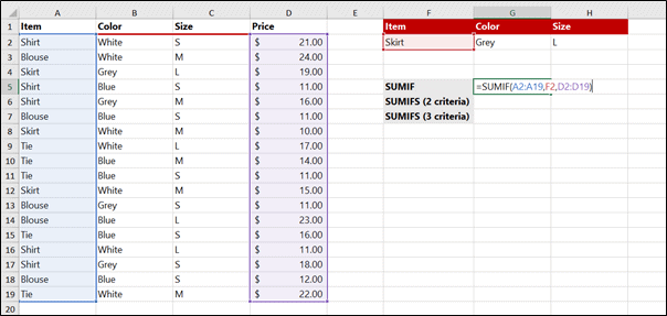 Excel SUMIFS