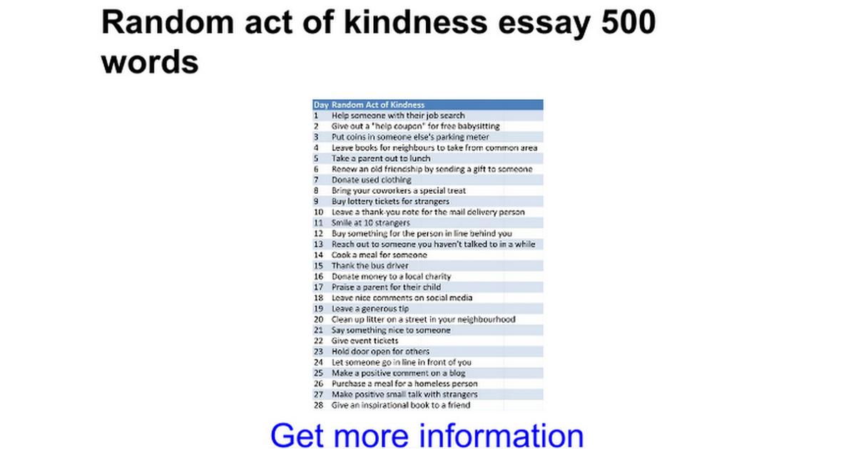 Random act of kindness essay 500 words - Google Docs
