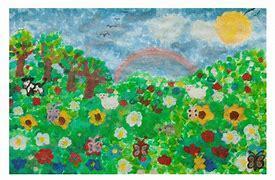 Obraz znaleziony dla: ogród malowany farbą plakatowa przez dziecko praca plastyczna