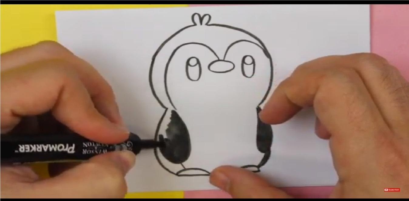 como dibujar un pinguino kawaii negro