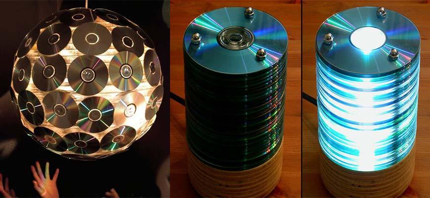 Люстра и светильники из лазерных дисков