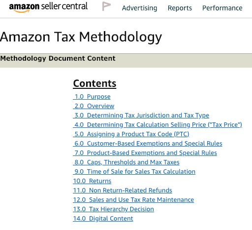 from amazon seller central regarding their sales tax policies