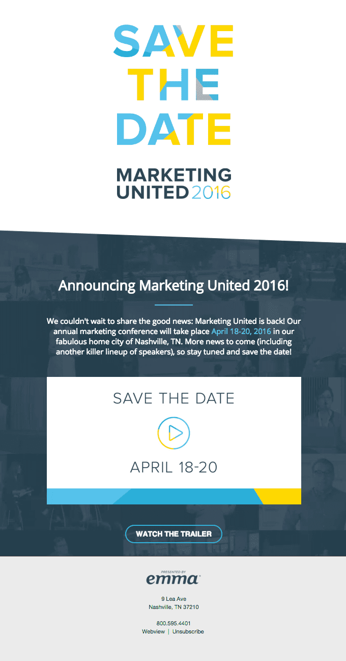 Save the Date Marketing United 2016 event invitation email example