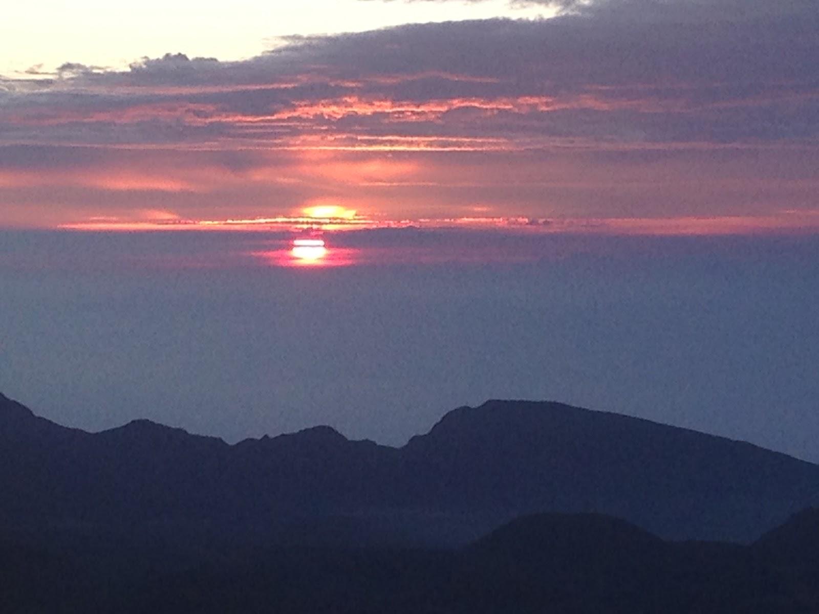 View of sunrise on Haleakala Volcano Summit
