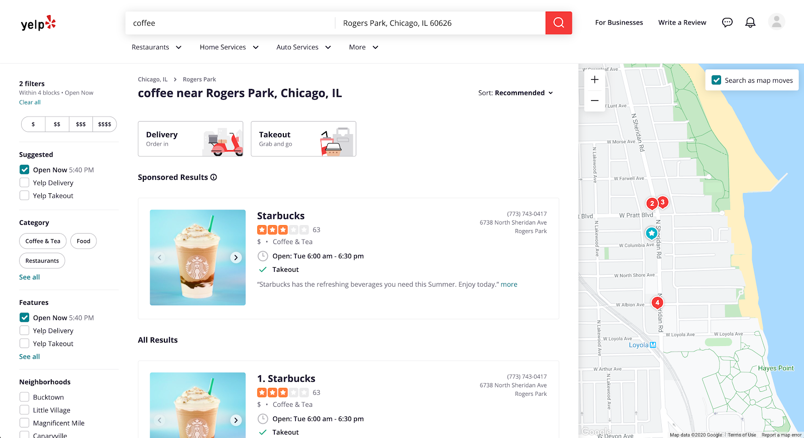 Screenshot of Yelp's coffee shops in Roger's Park mapped out