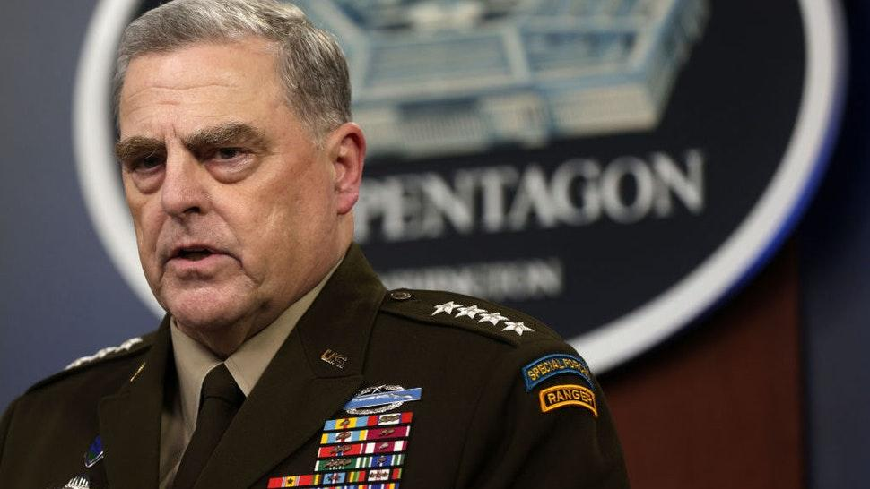 ARLINGTON, VIRGINIA - AUGUST 18: Chairman of the Joint Chiefs of Staff Army General Mark Milley participates in a news briefing at the Pentagon August 18, 2021 in Arlington, Virginia. U.S. Secretary of Defense Lloyd Austin and General Milley held a news briefing to discuss the current situation in Afghanistan after the Taliban took control of the country. (Photo by Alex Wong/Getty Images)