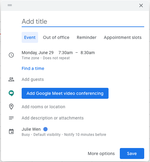 Improved Google Calendar event creation on the web