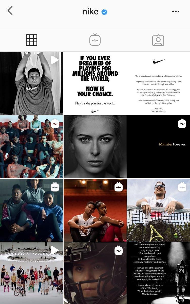 Nike Instagram feed