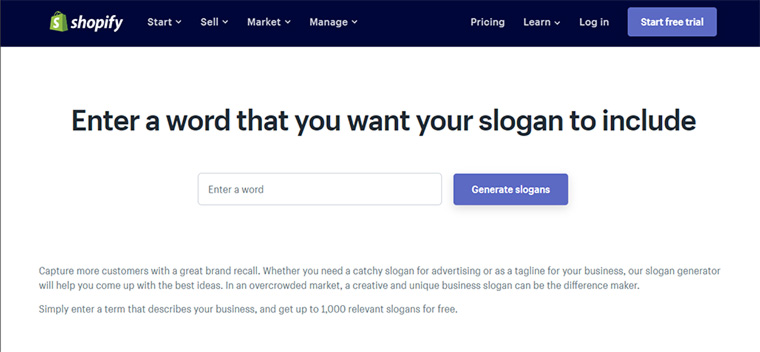 shopify slogan maker