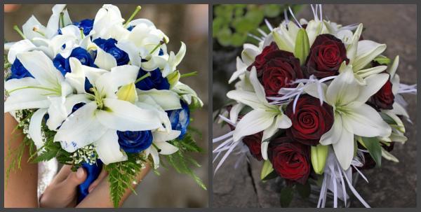 Букеты с лилиями и розами