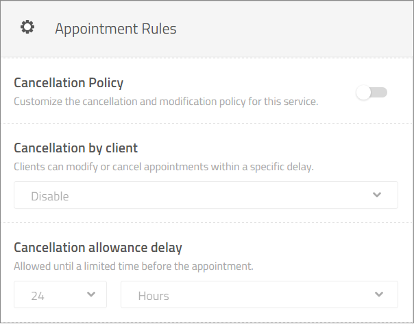 appointment rules per service