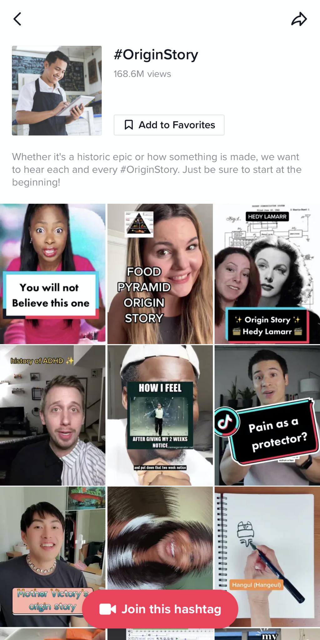#originstory hashtag page