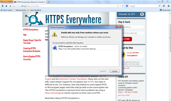 HTTPS Everywhere Firefox Install