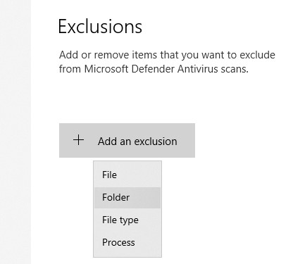 Antimalware Service Executable exclusion