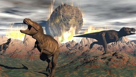 Ilustrasi Dinosauru dan Meteor