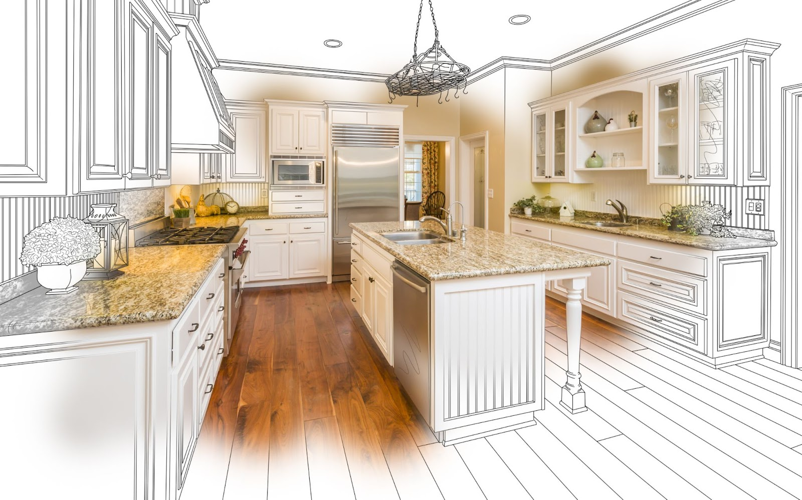 a drawing of a kitchen remodel