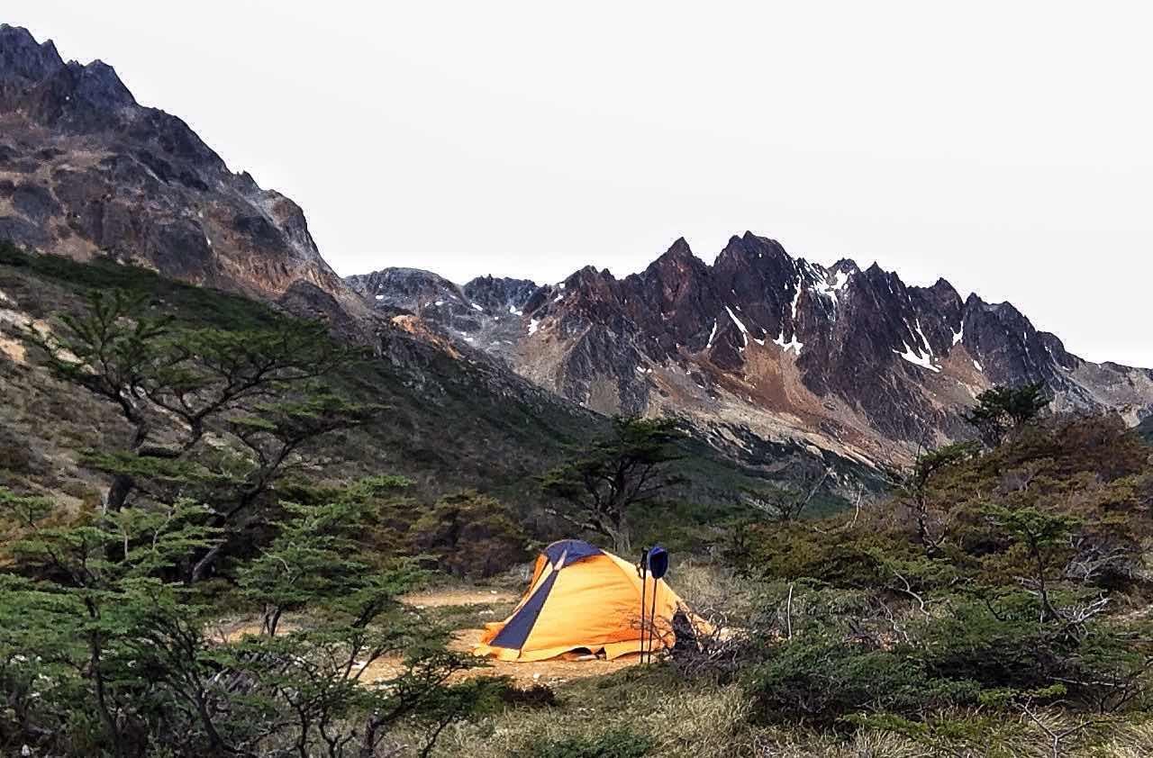 Acampando en Tierra del Fuego, Argentina