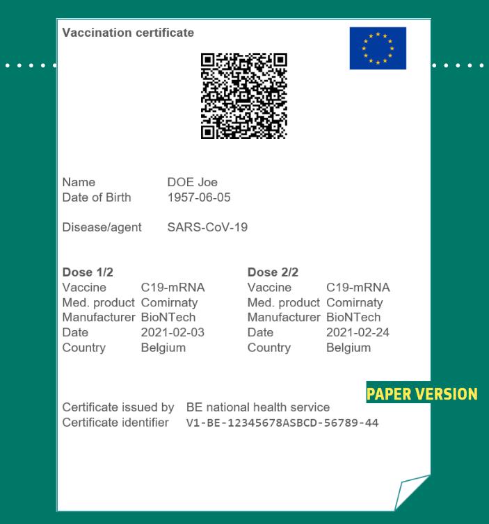 Exemple d'un certificat vert version papier