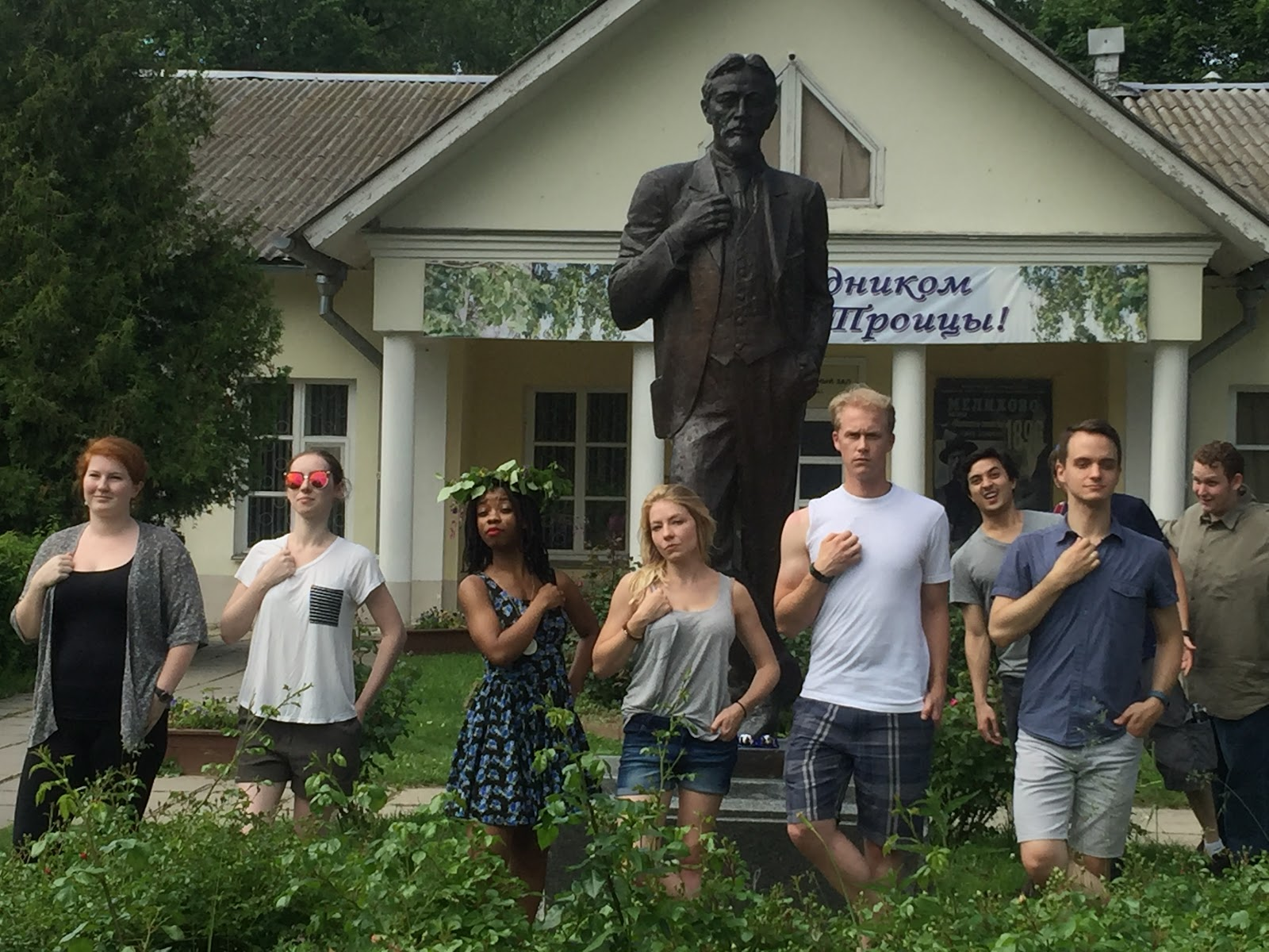 WSU students pose in front of Chekhov's country estate