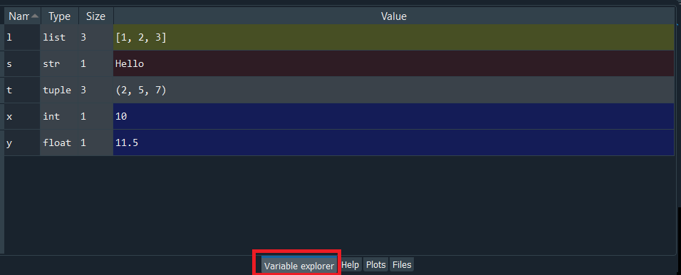 Variable Explorer