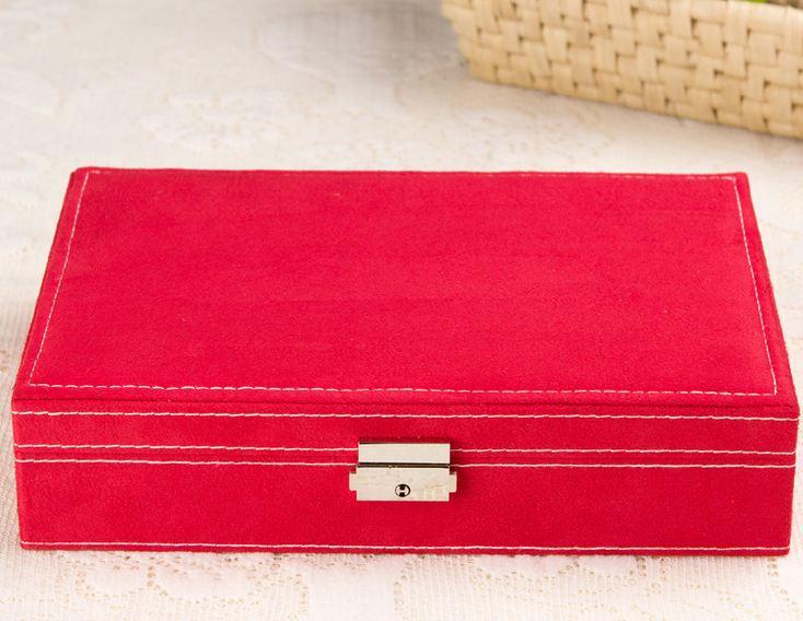 hộp đựng trang sức dẹp lớn màu đỏ
